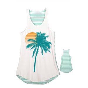 Palm Tree Sunset Summer Striped Tank Top